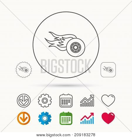 Wheel on fire icon. Race or Speed sign. Calendar, Graph chart and Cogwheel signs. Download and Heart love linear web icons. Vector