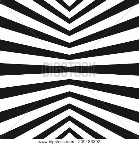 Vector stripes pattern. Black and white geometric seamless texture with refracted lines. Abstract monochrome striped background, repeat tiles. Pop art style. Trendy design for decor, covers, prints. Lines pattern. Stripes background. 3d pattern.