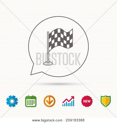 Racing flag icon. Finishing symbol. Calendar, Graph chart and Cogwheel signs. Download and Shield web icons. Vector