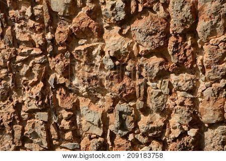Stone brown background, uneven abstract texture wall