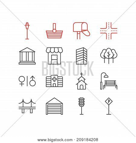 Editable Pack Of Semaphore, Parking, Basket And Other Elements.  Vector Illustration Of 16 Infrastructure Icons.