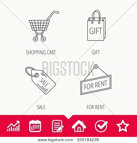 Shopping cart, gift bag and sale coupon icons. For rent label linear sign. Edit document, Calendar and Graph chart signs. Star, Check and House web icons. Vector