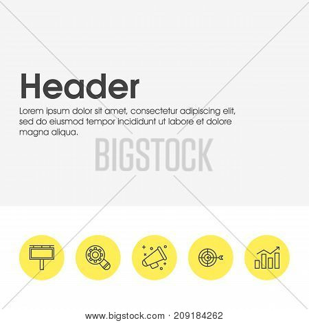 Editable Pack Of Announcement, Statistics, Goal And Other Elements.  Vector Illustration Of 5 Marketing Icons.