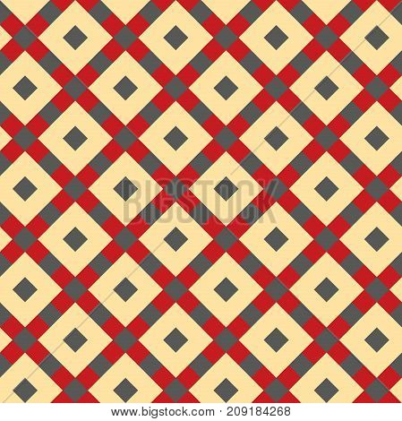 Seamless vintage tile pattern background in red, beige and green