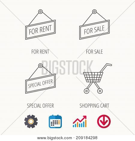 Shopping cart, for rent and special offer icons. For sale linear sign. Calendar, Graph chart and Cogwheel signs. Download colored web icon. Vector