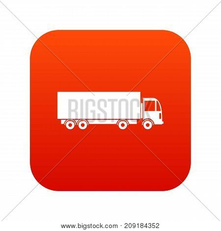 Truck icon digital red for any design isolated on white vector illustration