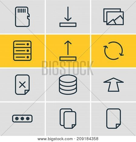 Editable Pack Of Upward, Datacenter, Database And Other Elements.  Vector Illustration Of 12 Archive Icons.