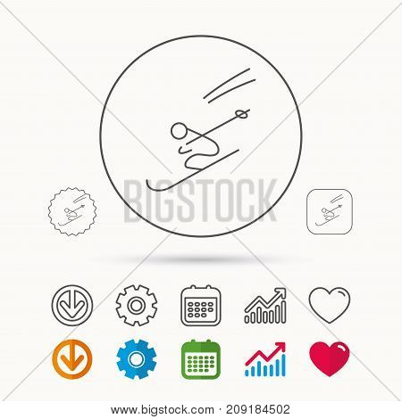 Skiing icon. Skis jumping extreme sport sign. Speed competition symbol. Calendar, Graph chart and Cogwheel signs. Download and Heart love linear web icons. Vector