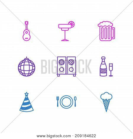 Editable Pack Of Speaker, Fizz, Draught And Other Elements.  Vector Illustration Of 9 Party Icons.