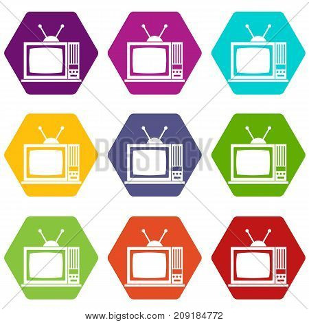 Retro TV icon set many color hexahedron isolated on white vector illustration