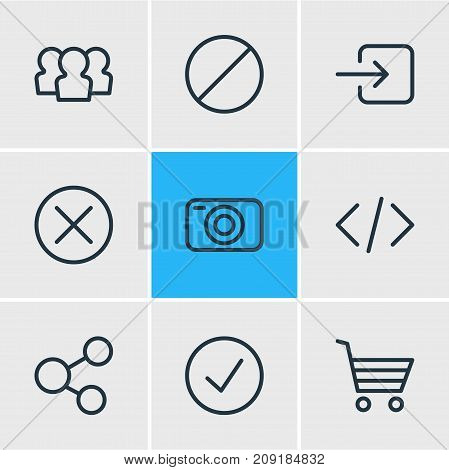 Editable Pack Of Sign In, Shopping, Done And Other Elements.  Vector Illustration Of 9 Application Icons.