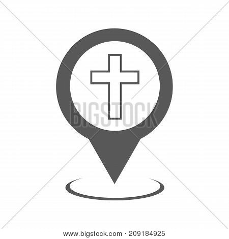 Church map pointer icon. Vector simple illustration of church map pointer icon isolated on white background