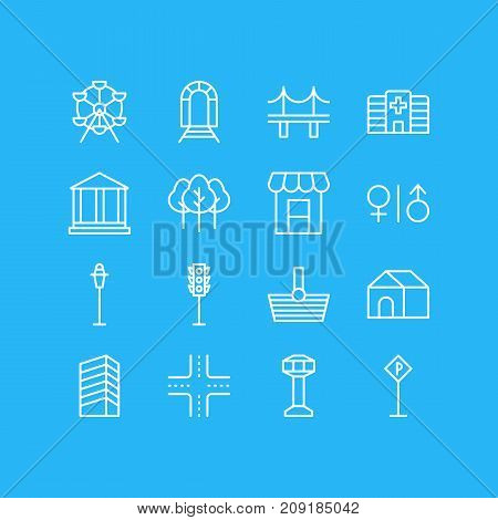 Editable Pack Of Road Sign, Lamppost, Intersection And Other Elements.  Vector Illustration Of 16 Public Icons.