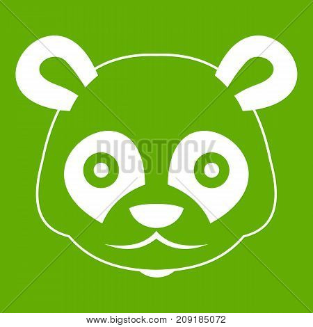 Head of panda icon white isolated on green background. Vector illustration