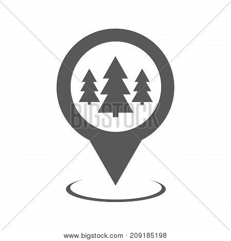 Forest map pointer icon. Simple illustration of forest map pointer vector icon black isolated on white background