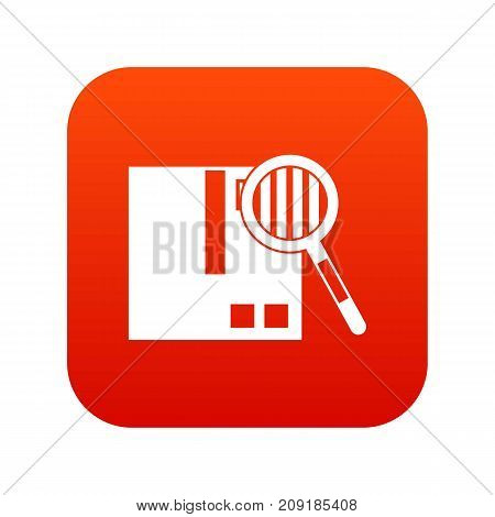 Quality control icon digital red for any design isolated on white vector illustration