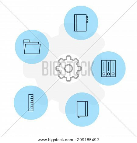 Editable Pack Of Dossier, Meter, Archive And Other Elements.  Vector Illustration Of 5 Stationery Icons.