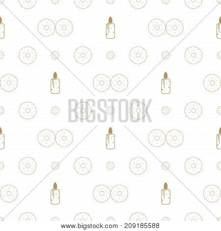 Christmas seamless pattern with candles, cookies and balls. Ideals for xmas background. Gold color.