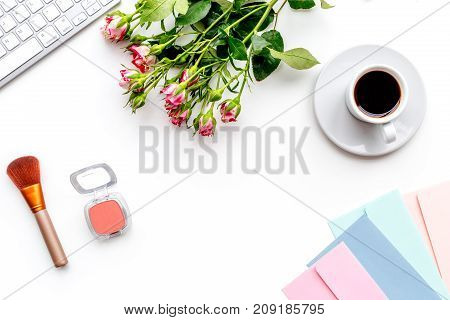 woman work desk with keyboadr and pestals on white background yop view mock up