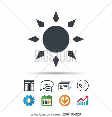 Sun icon. Sunny weather symbol. Statistics chart, chat speech bubble and contacts signs. Check web icon. Vector