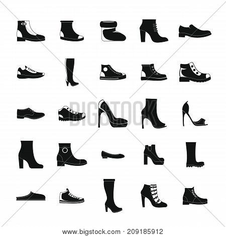Footwear shoes icon set. Simple illustration of 25 footwear shoes vector icons for web
