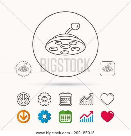 Surgical lamp icon. Surgeon light sign. Calendar, Graph chart and Cogwheel signs. Download and Heart love linear web icons. Vector