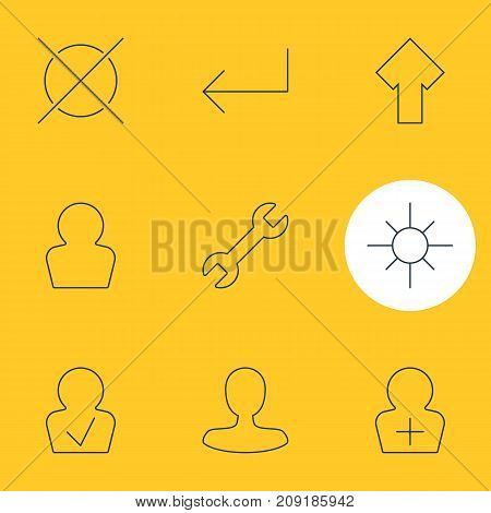 Editable Pack Of Upward, Avatar, Accsess And Other Elements.  Vector Illustration Of 9 UI Icons.