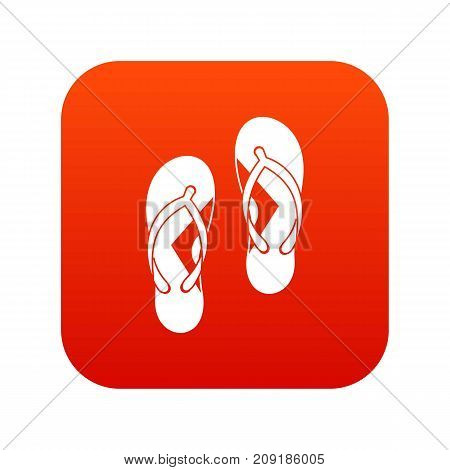 Flip flop sandals icon digital red for any design isolated on white vector illustration