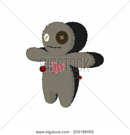 voodoo doll. Cartoon horror elements. Spooky fear trick or treat