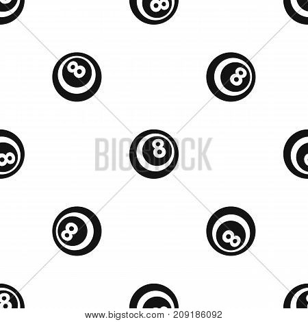 Black and white snooker eight pool pattern repeat seamless in black color for any design. Vector geometric illustration