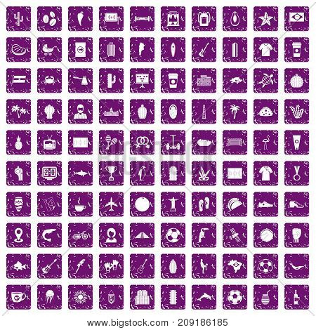 100 South America icons set in grunge style purple color isolated on white background vector illustration