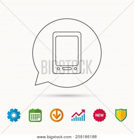 Tablet PC icon. Touchscreen pad sign. Calendar, Graph chart and Cogwheel signs. Download and Shield web icons. Vector