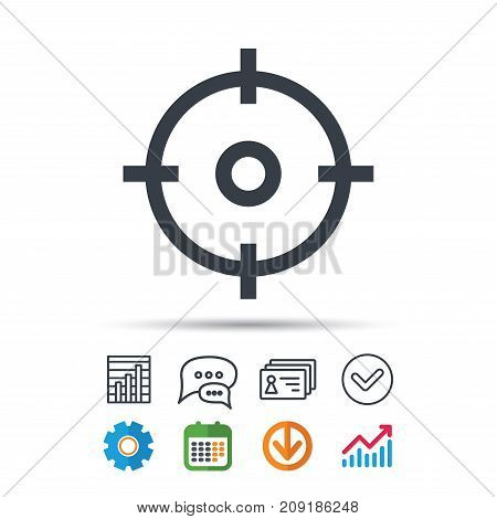 Target icon. Crosshair aim symbol. Statistics chart, chat speech bubble and contacts signs. Check web icon. Vector