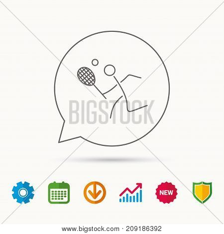 Tennis icon. Racket with ball sign. Professional sport symbol. Calendar, Graph chart and Cogwheel signs. Download and Shield web icons. Vector