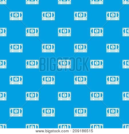 Stack of money pattern repeat seamless in blue color for any design. Vector geometric illustration
