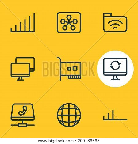 Editable Pack Of Strong, Card, Distant And Other Elements.  Vector Illustration Of 9 Network Icons.