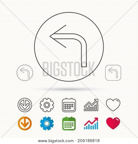 Turn left arrow icon. Previous sign. Back direction symbol. Calendar, Graph chart and Cogwheel signs. Download and Heart love linear web icons. Vector