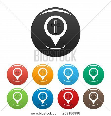 Church map pointer icons set. Vector simple set of church map pointer vector icons in different colors isolated on white