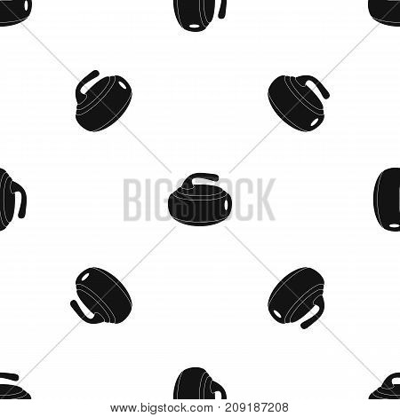 Curling stone pattern repeat seamless in black color for any design. Vector geometric illustration