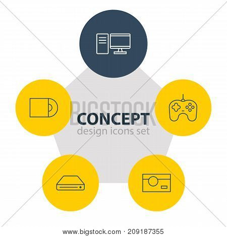 Editable Pack Of Photography, PC, Dvd Drive And Other Elements.  Vector Illustration Of 5 Technology Icons.
