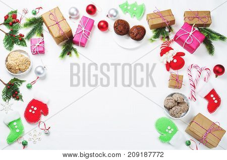 Christmas background with gifts cookies Christmas decoration