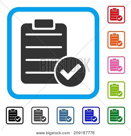 Approve List icon. Flat grey pictogram symbol in a light blue rounded frame. Black, gray, green, blue, red, orange color versions of Approve List vector. Designed for web and app user interface.