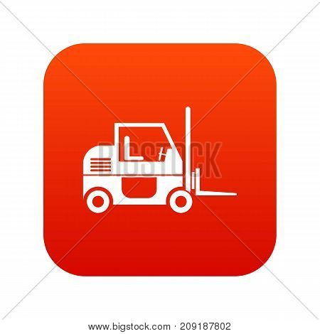 Forklift icon digital red for any design isolated on white vector illustration