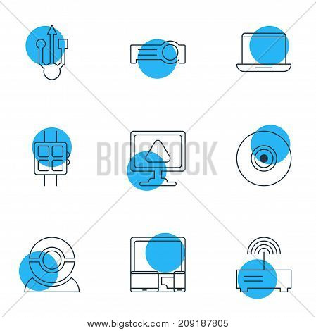 Editable Pack Of Notebook, Warning, Web Camera And Other Elements.  Vector Illustration Of 9 Notebook Icons.