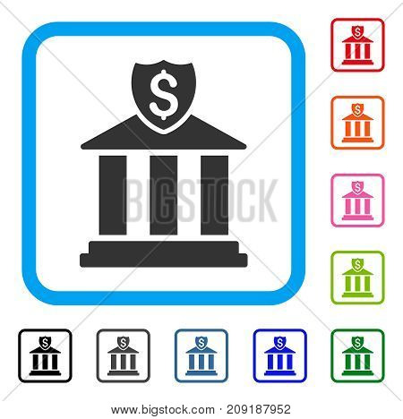 Bank icon. Flat grey pictogram symbol inside a light blue rounded rectangle. Black, gray, green, blue, red, orange color additional versions of Bank vector.