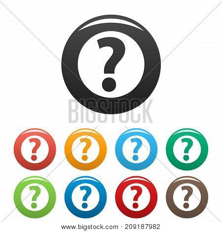 Question mark sign icons set. Vector simple set of question mark sign vector icons in different colors isolated on white