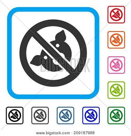 Banned Pig icon. Flat grey iconic symbol in a light blue rounded rectangle. Black, gray, green, blue, red, orange color versions of Banned Pig vector. Designed for web and software interfaces.