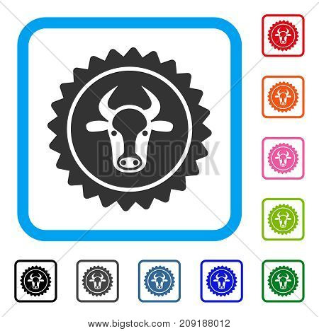 Beef Certificate Seal icon. Flat gray pictogram symbol in a light blue rounded squared frame. Black, gray, green, blue, red, orange color variants of Beef Certificate Seal vector.