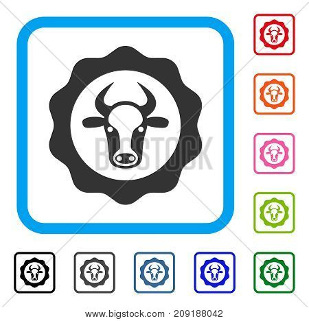 Beef Certificate icon. Flat grey pictogram symbol inside a light blue rounded squared frame. Black, gray, green, blue, red, orange color additional versions of Beef Certificate vector.