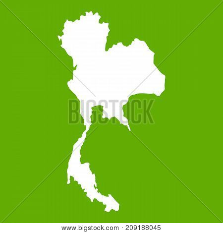Thailand map icon white isolated on green background. Vector illustration